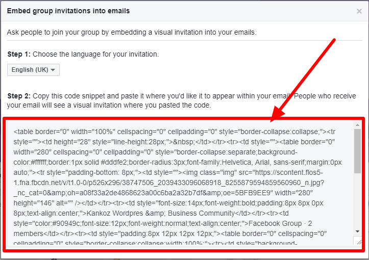 Facebook group invitation Embed New