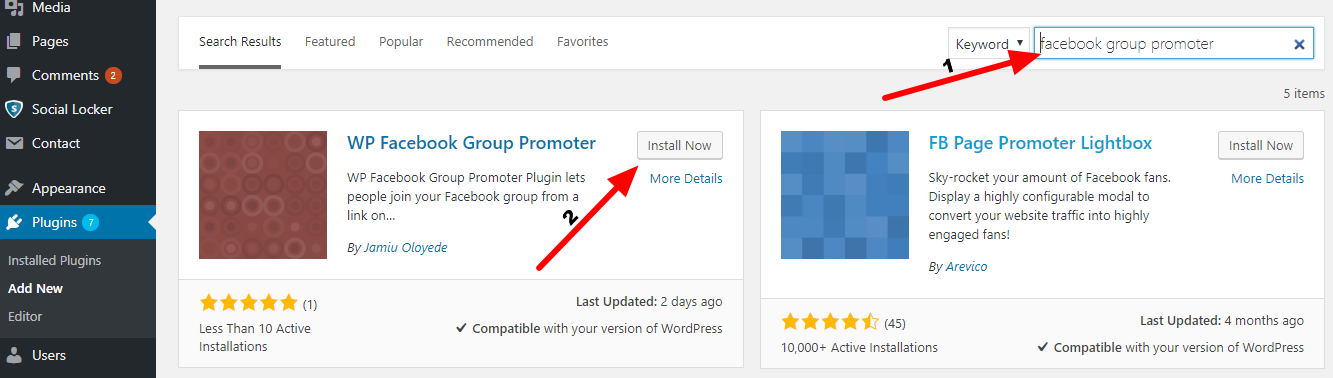 how to install wp facebook group promoter plugin